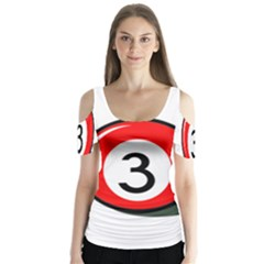 Billiard Ball Number 3 Butterfly Sleeve Cutout Tee