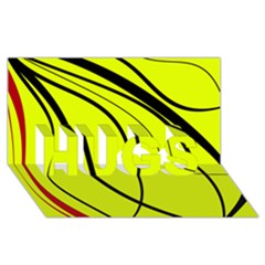 Yellow decorative design HUGS 3D Greeting Card (8x4)