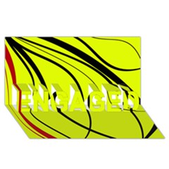 Yellow decorative design ENGAGED 3D Greeting Card (8x4)