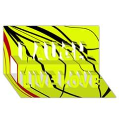 Yellow decorative design Laugh Live Love 3D Greeting Card (8x4)
