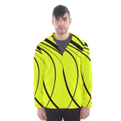 Yellow decorative design Hooded Wind Breaker (Men)