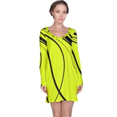 Yellow decorative design Long Sleeve Nightdress