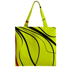 Yellow decorative design Zipper Grocery Tote Bag