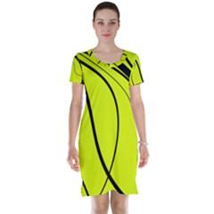 Yellow decorative design Short Sleeve Nightdress
