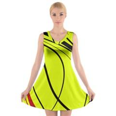 Yellow decorative design V-Neck Sleeveless Skater Dress