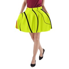 Yellow decorative design A-Line Pocket Skirt