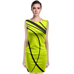 Yellow Decorative Design Classic Sleeveless Midi Dress