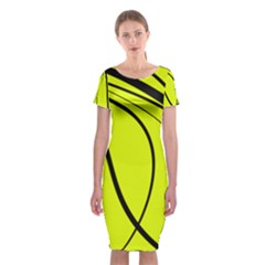 Yellow Decorative Design Classic Short Sleeve Midi Dress