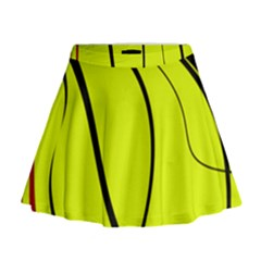 Yellow Decorative Design Mini Flare Skirt