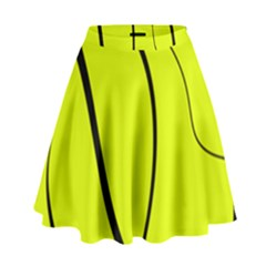 Yellow Decorative Design High Waist Skirt