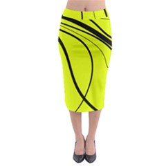 Yellow Decorative Design Midi Pencil Skirt