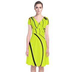 Yellow Decorative Design Short Sleeve Front Wrap Dress