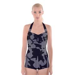 Decorative Elegant Design Boyleg Halter Swimsuit