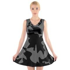 Decorative Elegant Design V-Neck Sleeveless Skater Dress