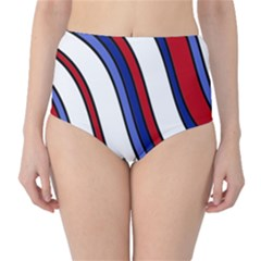 Decorative Lines High-Waist Bikini Bottoms