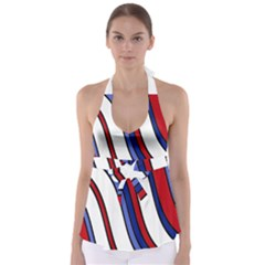 Decorative Lines Babydoll Tankini Top