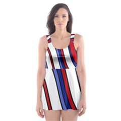 Decorative Lines Skater Dress Swimsuit