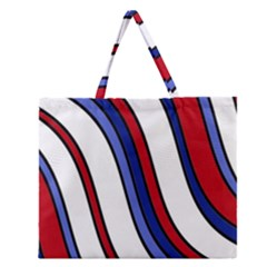 Decorative Lines Zipper Large Tote Bag