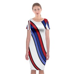 Decorative Lines Classic Short Sleeve Midi Dress