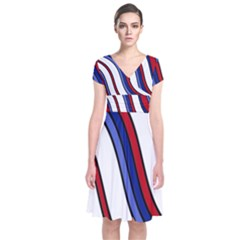 Decorative Lines Short Sleeve Front Wrap Dress