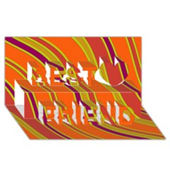Orange lines Best Friends 3D Greeting Card (8x4)