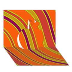 Orange Lines Apple 3d Greeting Card (7x5)