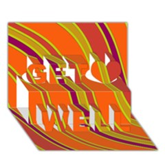 Orange lines Get Well 3D Greeting Card (7x5)