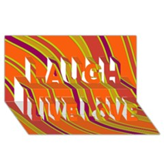 Orange lines Laugh Live Love 3D Greeting Card (8x4)