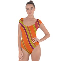 Orange lines Short Sleeve Leotard