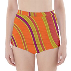 Orange lines High-Waisted Bikini Bottoms