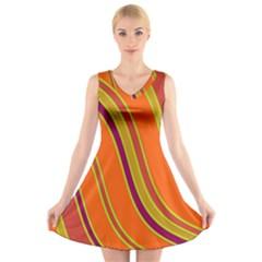 Orange lines V-Neck Sleeveless Skater Dress