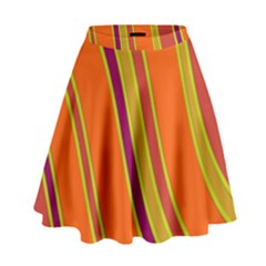 Orange Lines High Waist Skirt
