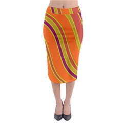 Orange Lines Midi Pencil Skirt