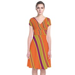 Orange Lines Short Sleeve Front Wrap Dress