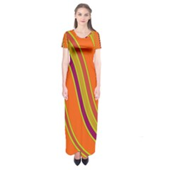 Orange Lines Short Sleeve Maxi Dress