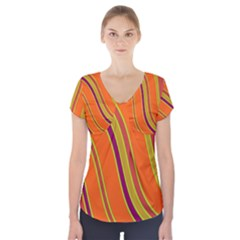 Orange Lines Short Sleeve Front Detail Top