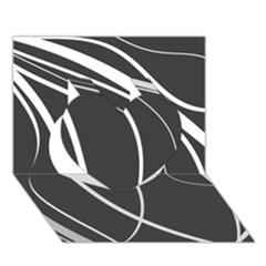 Black and white elegant design Heart 3D Greeting Card (7x5)