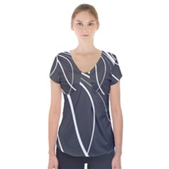 Black and white elegant design Short Sleeve Front Detail Top