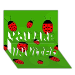 Ladybugs YOU ARE INVITED 3D Greeting Card (7x5)