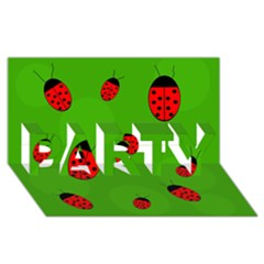Ladybugs PARTY 3D Greeting Card (8x4)