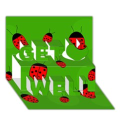 Ladybugs Get Well 3D Greeting Card (7x5)