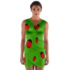 Ladybugs Wrap Front Bodycon Dress