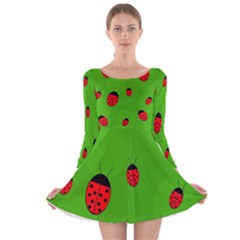 Ladybugs Long Sleeve Velvet Skater Dress