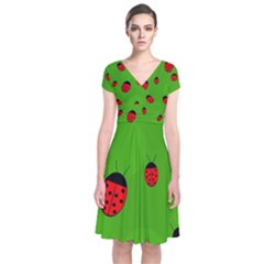 Ladybugs Short Sleeve Front Wrap Dress