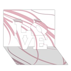 Pink elegant lines LOVE 3D Greeting Card (7x5)