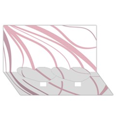 Pink elegant lines Twin Heart Bottom 3D Greeting Card (8x4)