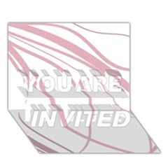 Pink elegant lines YOU ARE INVITED 3D Greeting Card (7x5)
