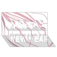 Pink elegant lines Happy New Year 3D Greeting Card (8x4)