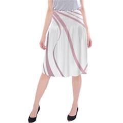 Pink elegant lines Midi Beach Skirt