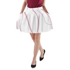 Pink elegant lines A-Line Pocket Skirt